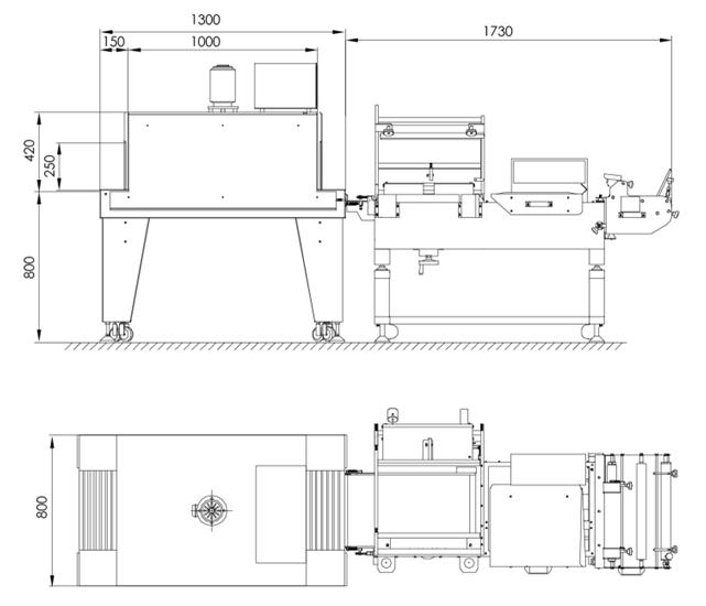 半自动L型收缩包装机